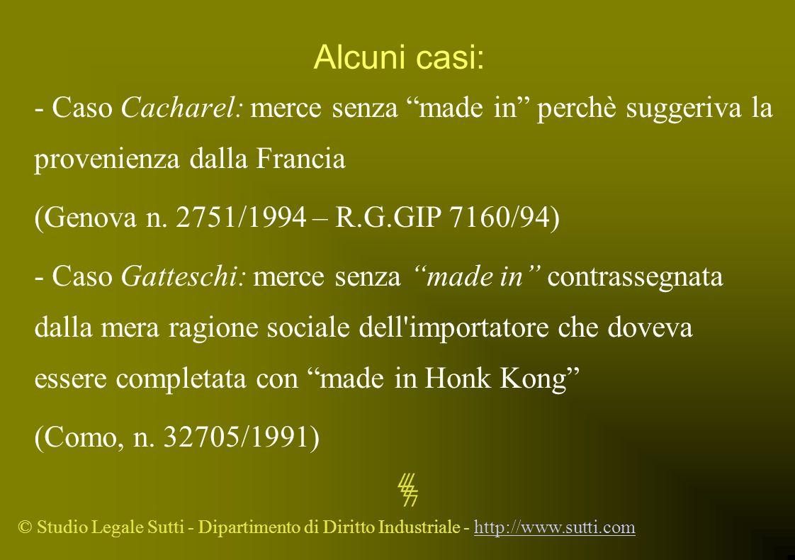 Alcuni casi: - Caso Cacharel: merce senza made in perchè suggeriva la provenienza dalla Francia.