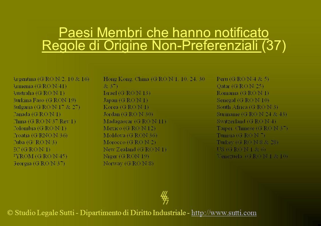 Paesi Membri che hanno notificato Regole di Origine Non-Preferenziali (37)