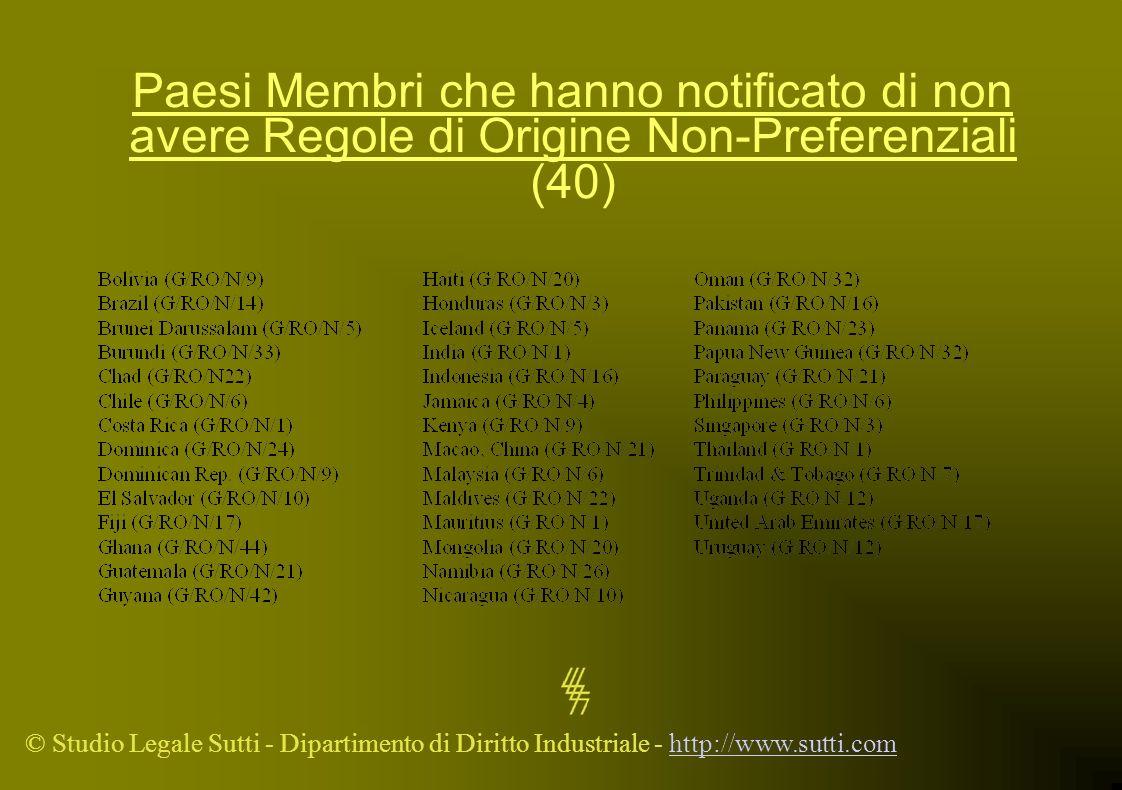 Paesi Membri che hanno notificato di non avere Regole di Origine Non-Preferenziali (40)