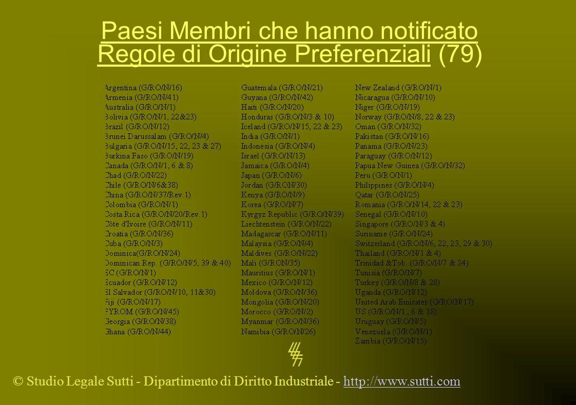 Paesi Membri che hanno notificato Regole di Origine Preferenziali (79)