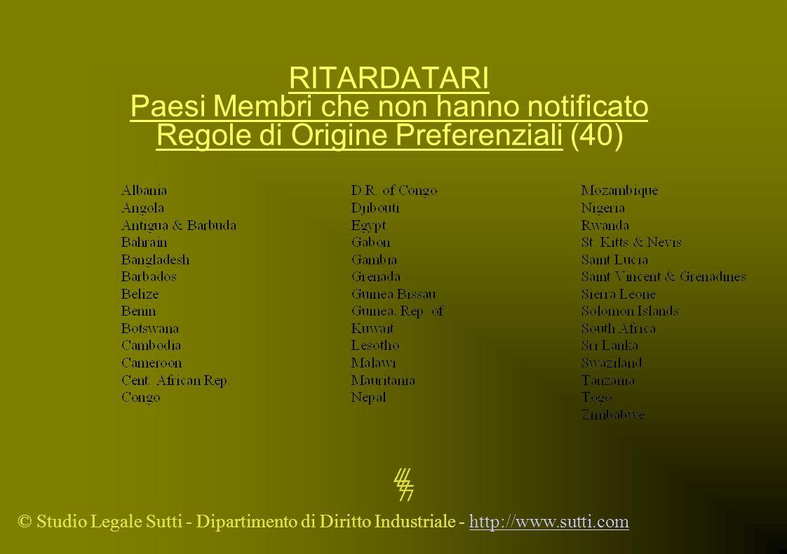 RITARDATARI Paesi Membri che non hanno notificato Regole di Origine Preferenziali (40)