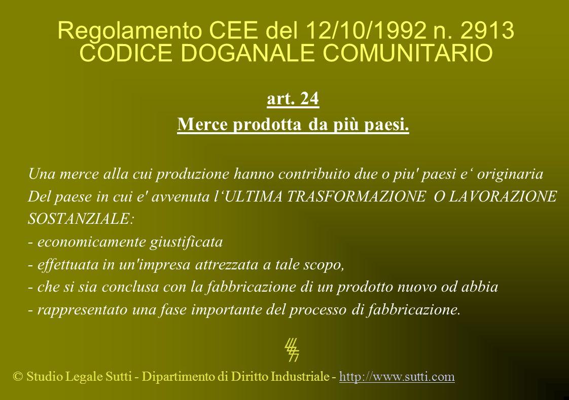 Regolamento CEE del 12/10/1992 n. 2913 CODICE DOGANALE COMUNITARIO
