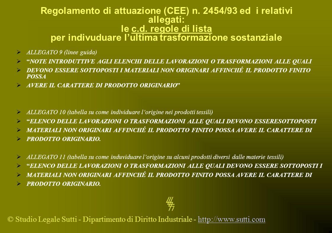 Regolamento di attuazione (CEE) n. 2454/93 ed i relativi allegati: le c.d. regole di lista per indivuduare l'ultima trasformazione sostanziale