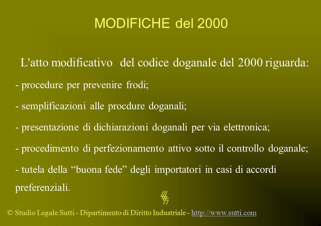 L atto modificativo del codice doganale del 2000 riguarda: