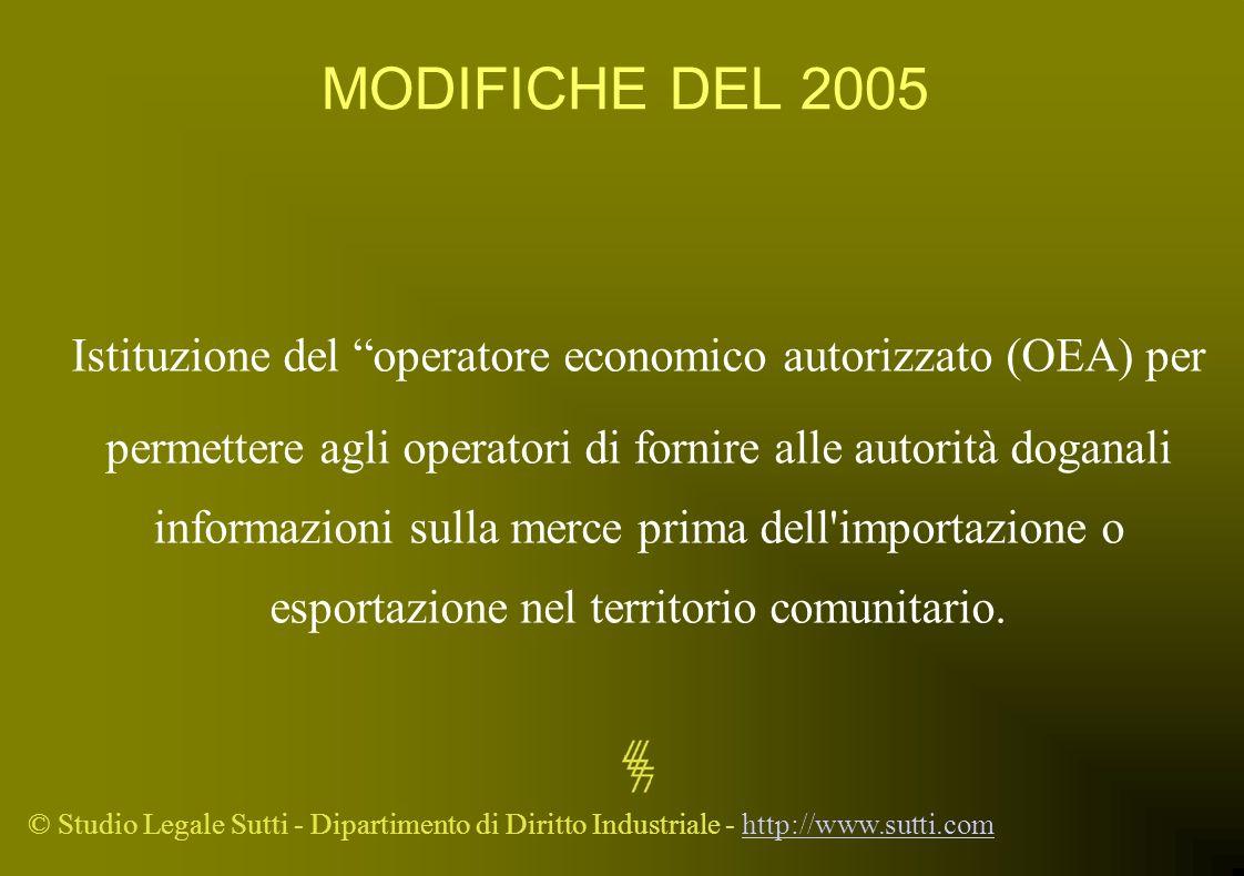 Istituzione del operatore economico autorizzato (OEA) per