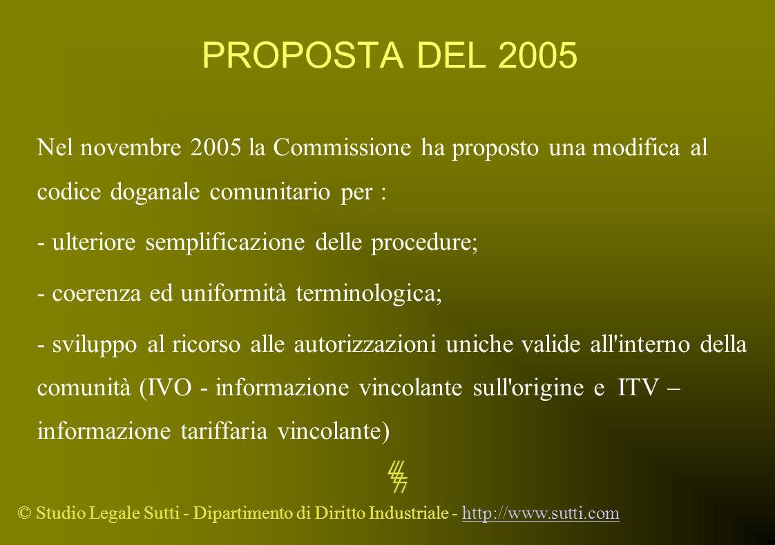 PROPOSTA DEL 2005 Nel novembre 2005 la Commissione ha proposto una modifica al codice doganale comunitario per :