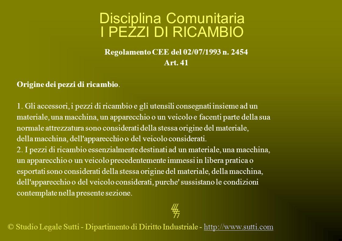 Disciplina Comunitaria I PEZZI DI RICAMBIO