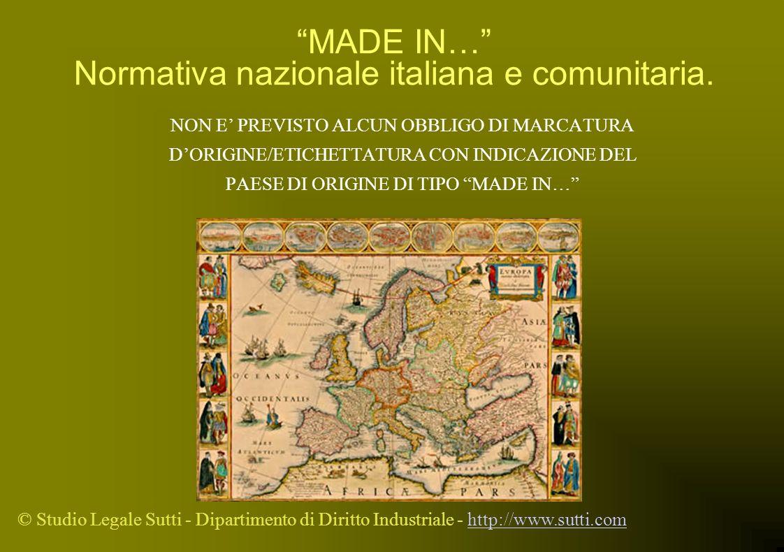 MADE IN… Normativa nazionale italiana e comunitaria.