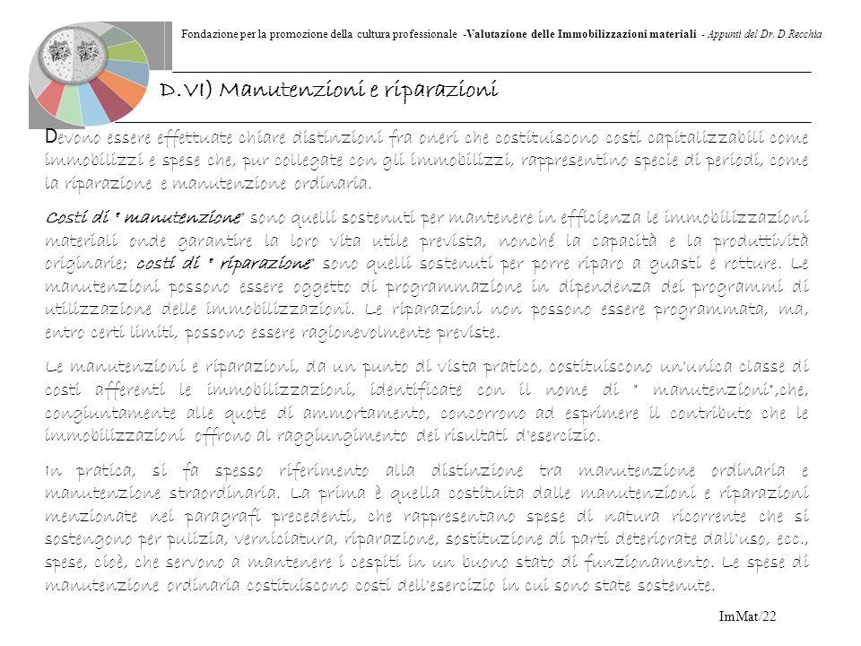 D.VI) Manutenzioni e riparazioni