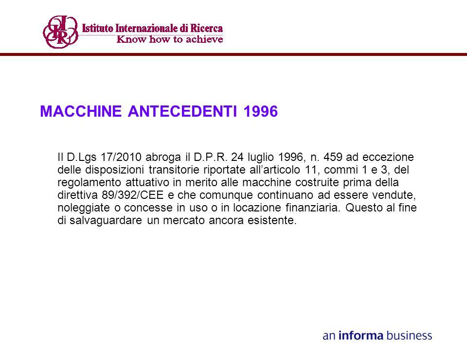MACCHINE ANTECEDENTI 1996