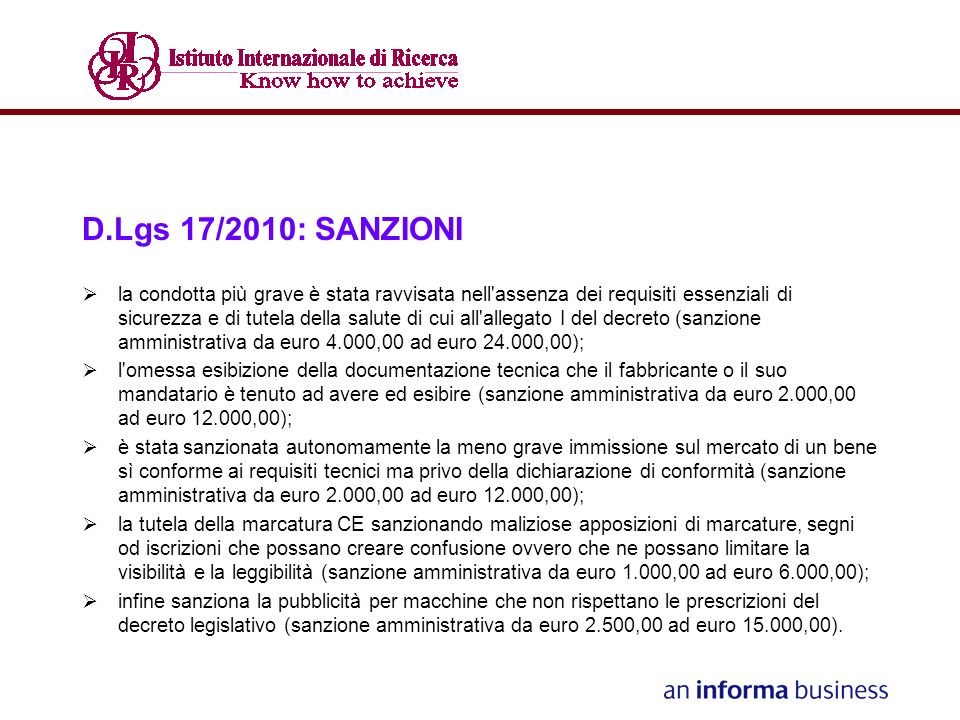 D.Lgs 17/2010: SANZIONI