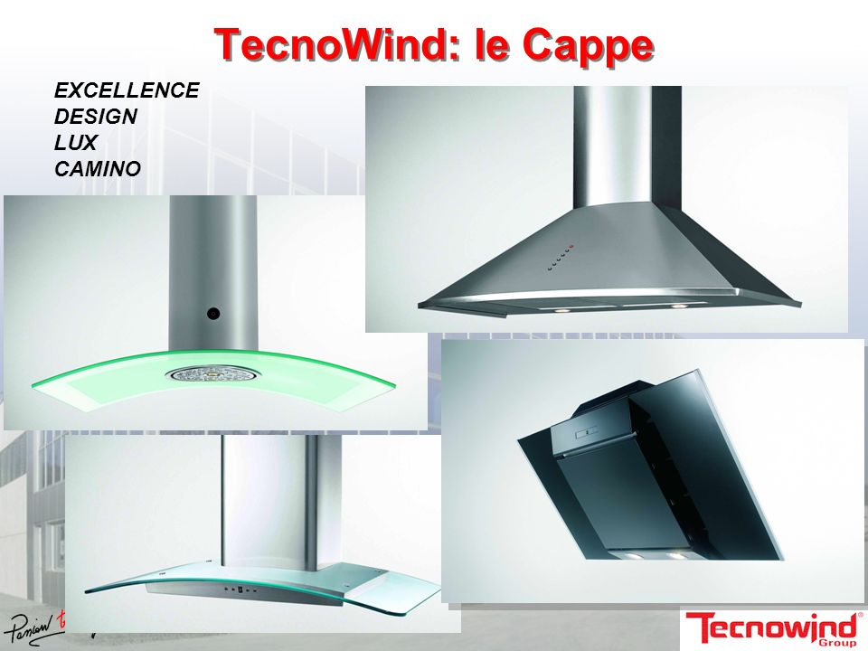 TecnoWind: le Cappe EXCELLENCE DESIGN LUX CAMINO