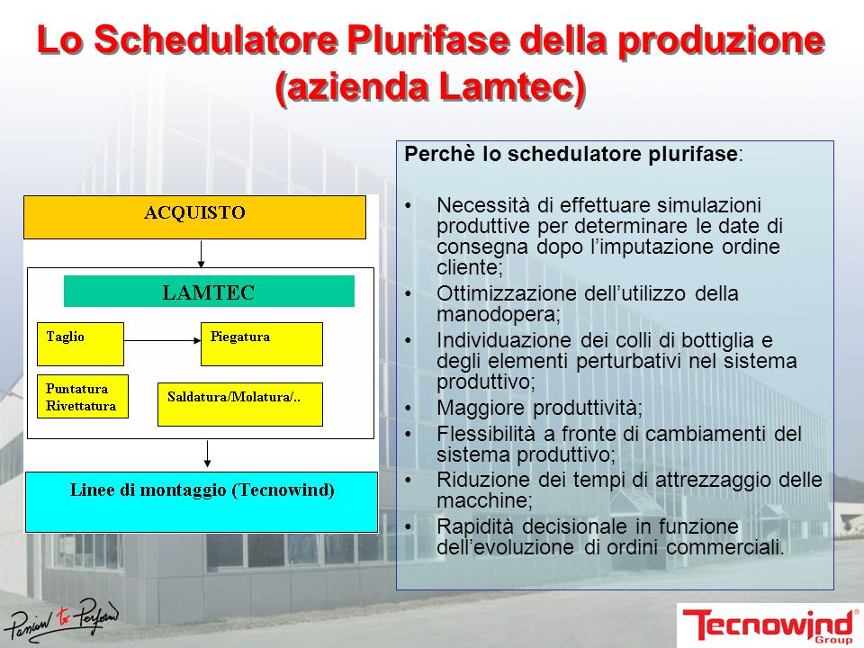 Lo Schedulatore Plurifase della produzione (azienda Lamtec)