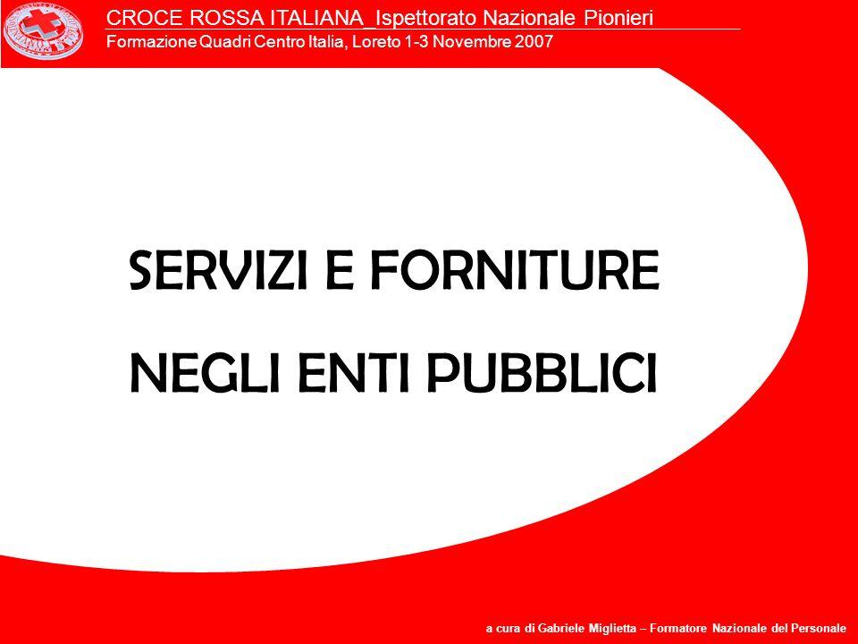 SERVIZI E FORNITURE NEGLI ENTI PUBBLICI