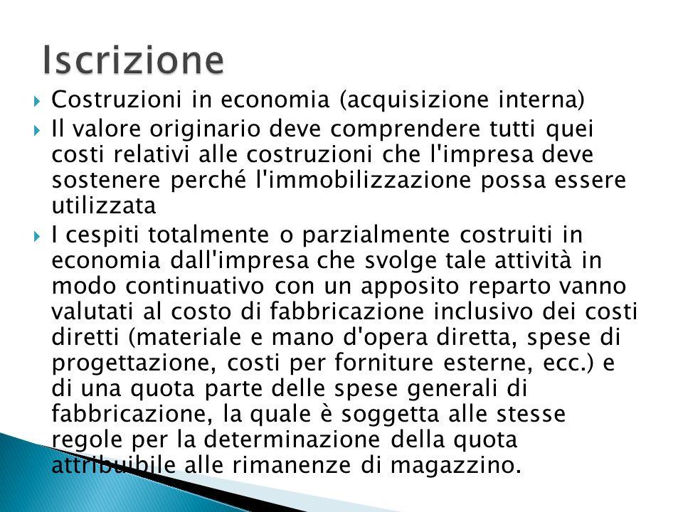 Iscrizione Costruzioni in economia (acquisizione interna)