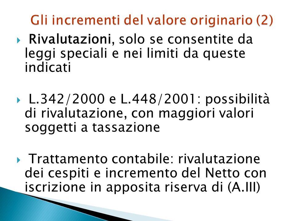 Gli incrementi del valore originario (2)
