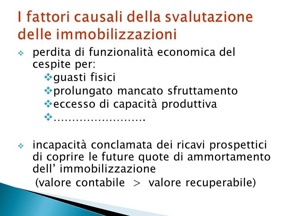 I fattori causali della svalutazione delle immobilizzazioni