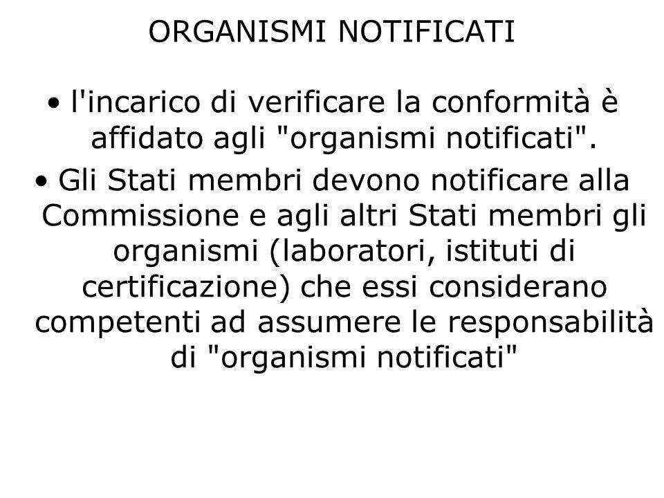 ORGANISMI NOTIFICATI l incarico di verificare la conformità è affidato agli organismi notificati .