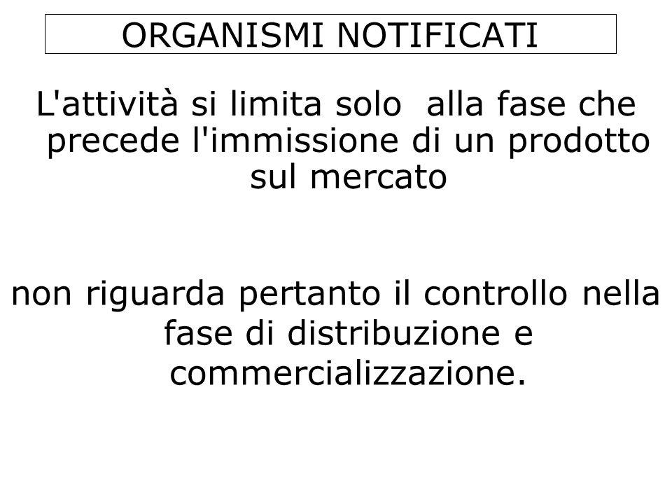 ORGANISMI NOTIFICATI L attività si limita solo alla fase che precede l immissione di un prodotto sul mercato.