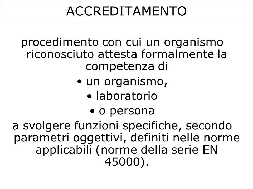 ACCREDITAMENTOprocedimento con cui un organismo riconosciuto attesta formalmente la competenza di. un organismo,