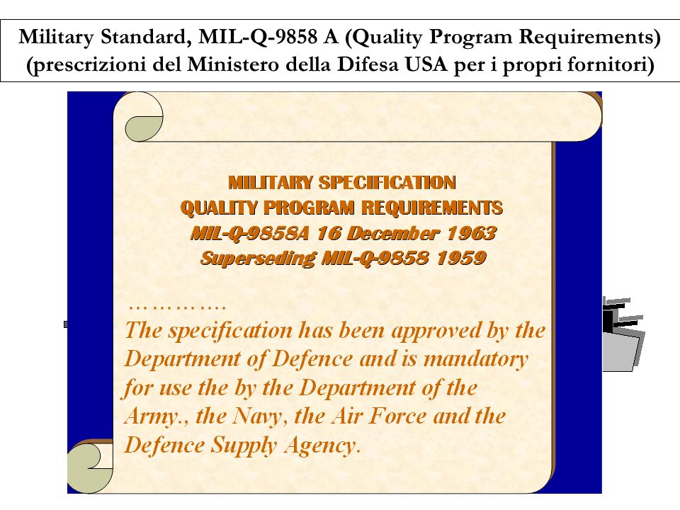 Military Standard, MIL-Q-9858 A (Quality Program Requirements)