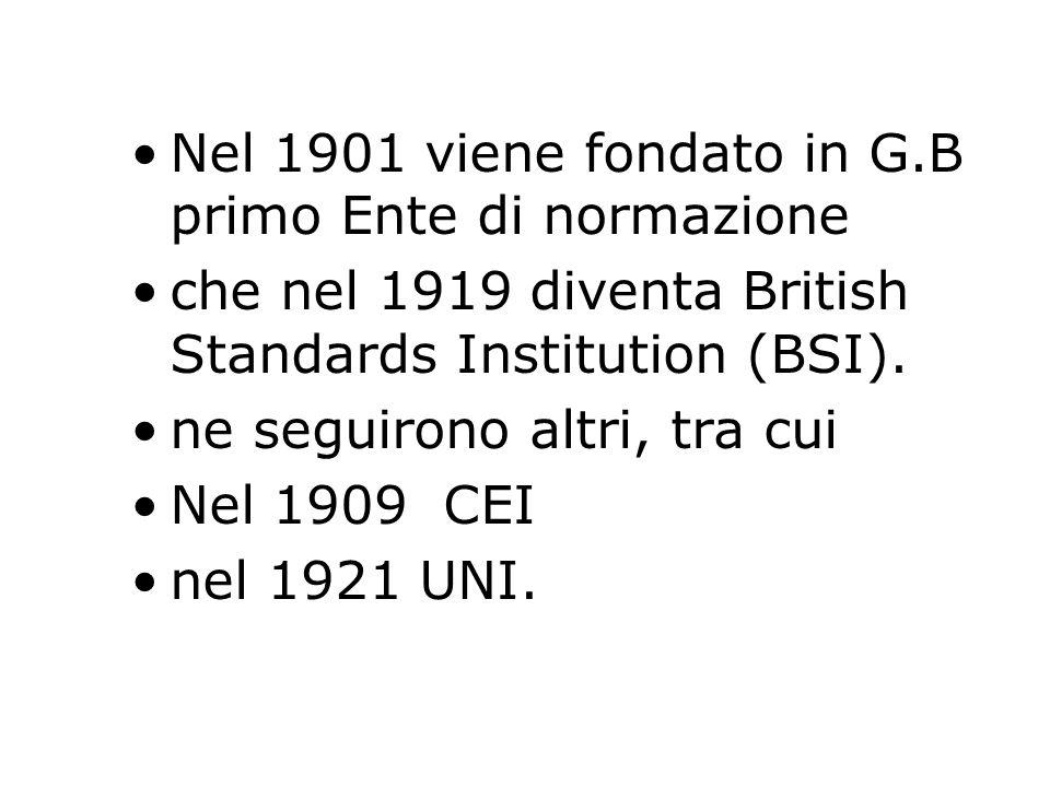 Nel 1901 viene fondato in G.B primo Ente di normazione