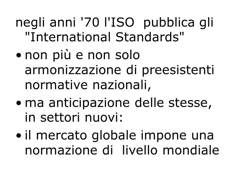 negli anni 70 l ISO pubblica gli International Standards