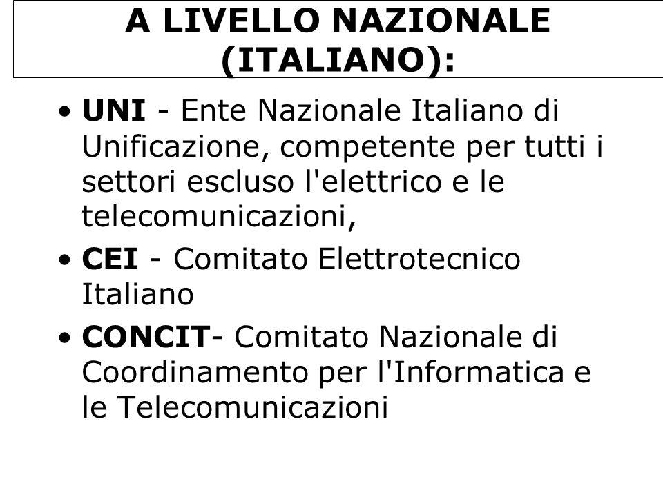 A LIVELLO NAZIONALE (ITALIANO):