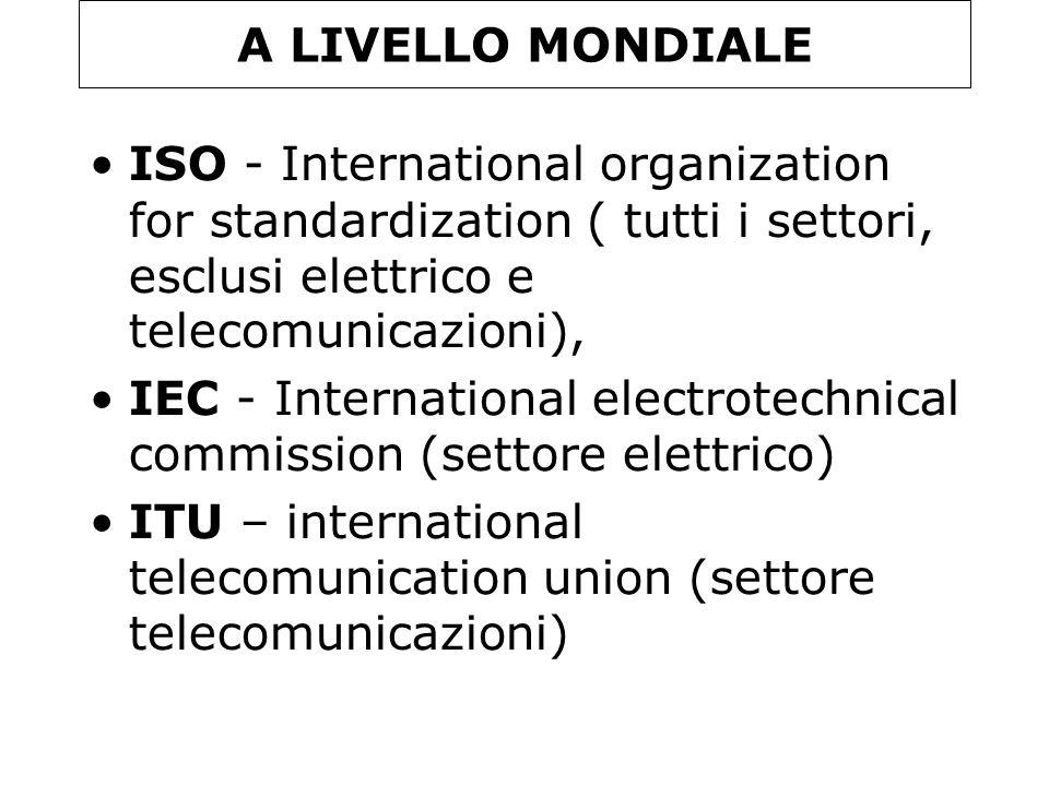 A LIVELLO MONDIALE ISO - International organization for standardization ( tutti i settori, esclusi elettrico e telecomunicazioni),