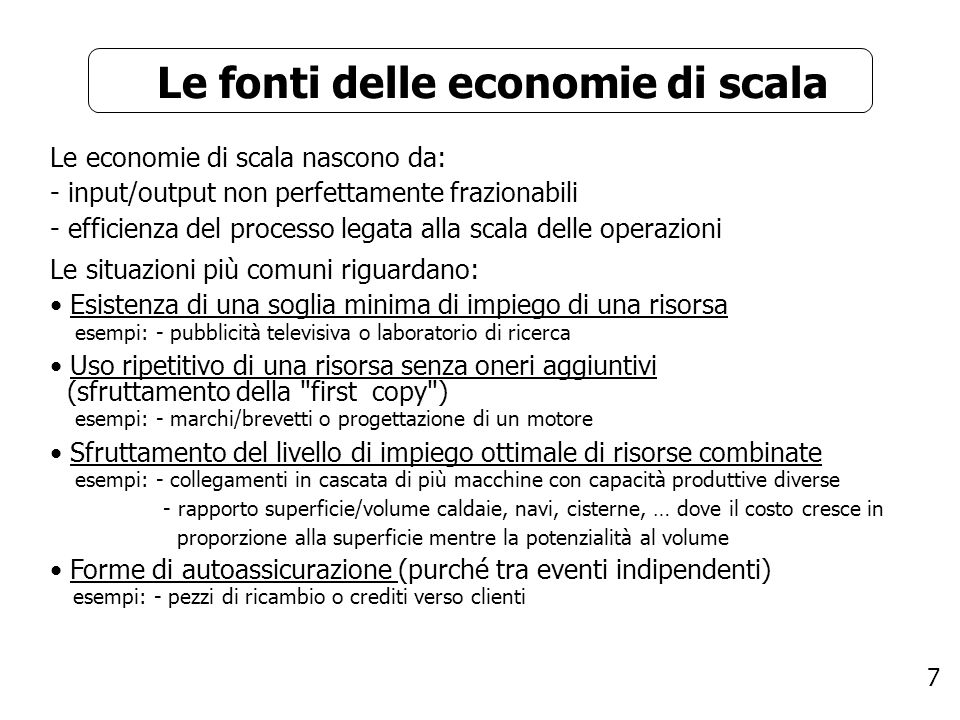 Le fonti delle economie di scala
