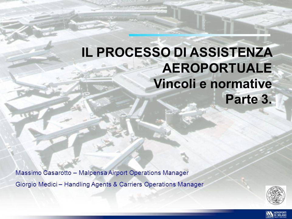 IL PROCESSO DI ASSISTENZA AEROPORTUALE Vincoli e normative Parte 3.