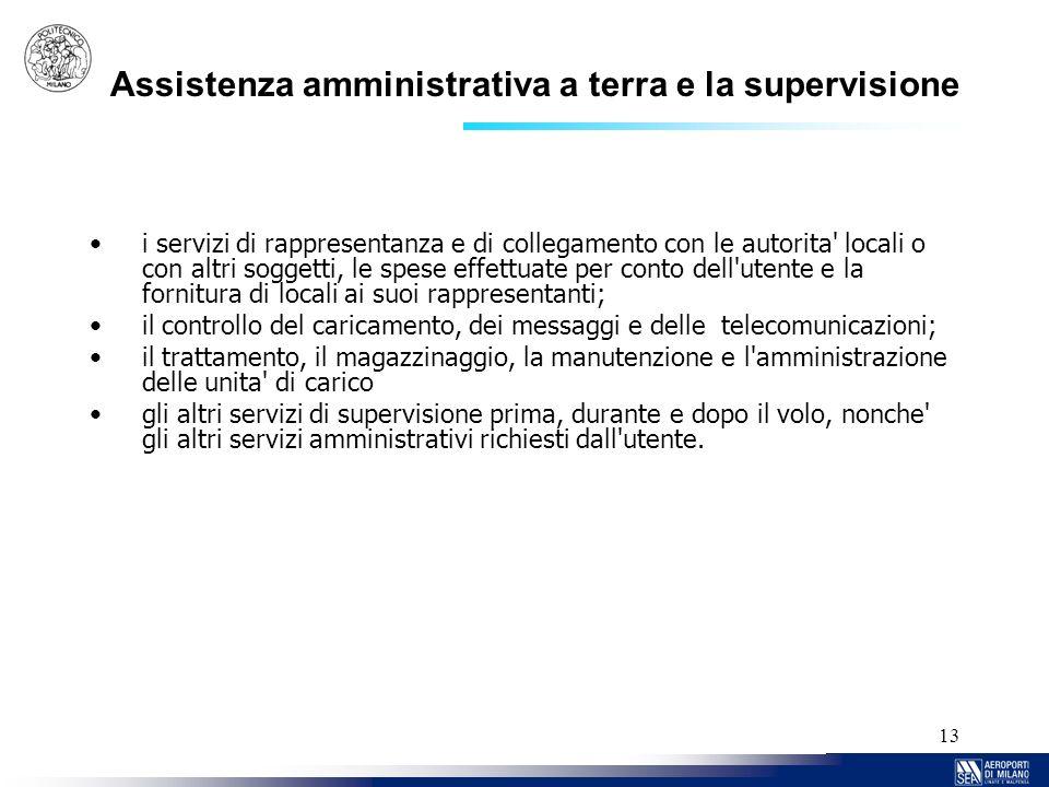 Assistenza amministrativa a terra e la supervisione