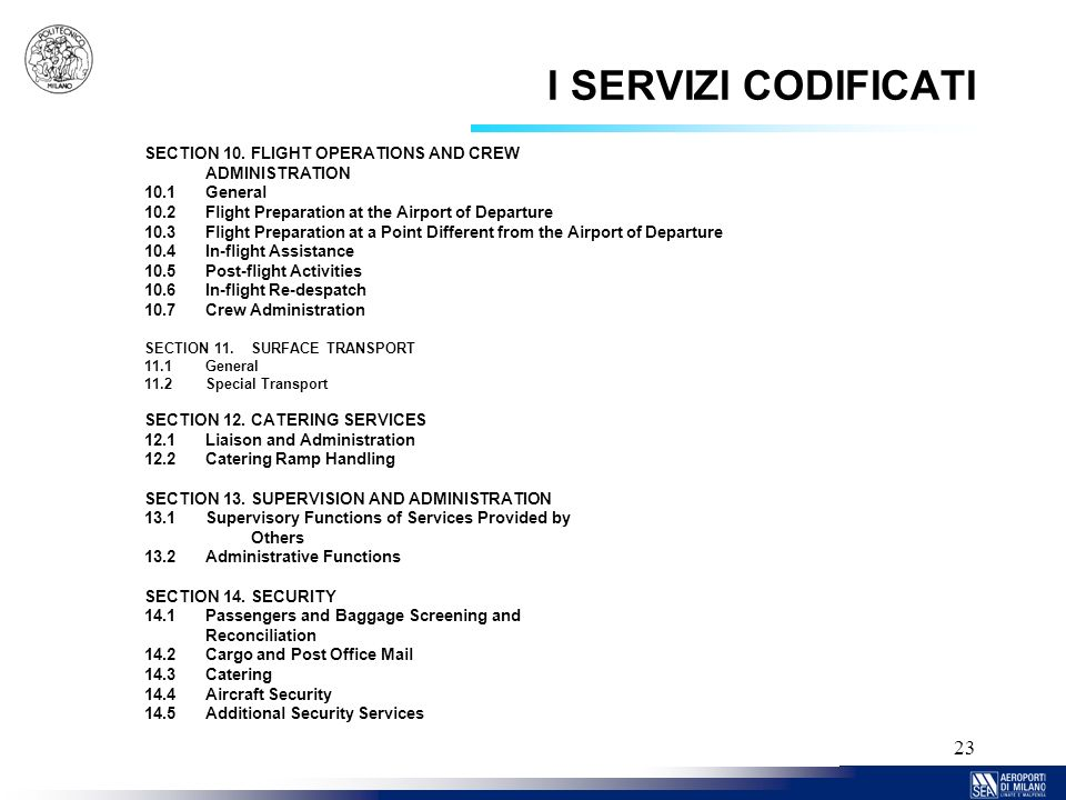 I SERVIZI CODIFICATI SECTION 10. FLIGHT OPERATIONS AND CREW