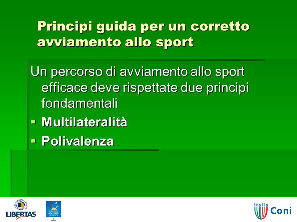 Principi guida per un corretto avviamento allo sport