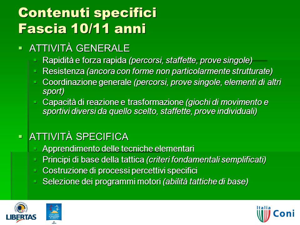 Contenuti specifici Fascia 10/11 anni