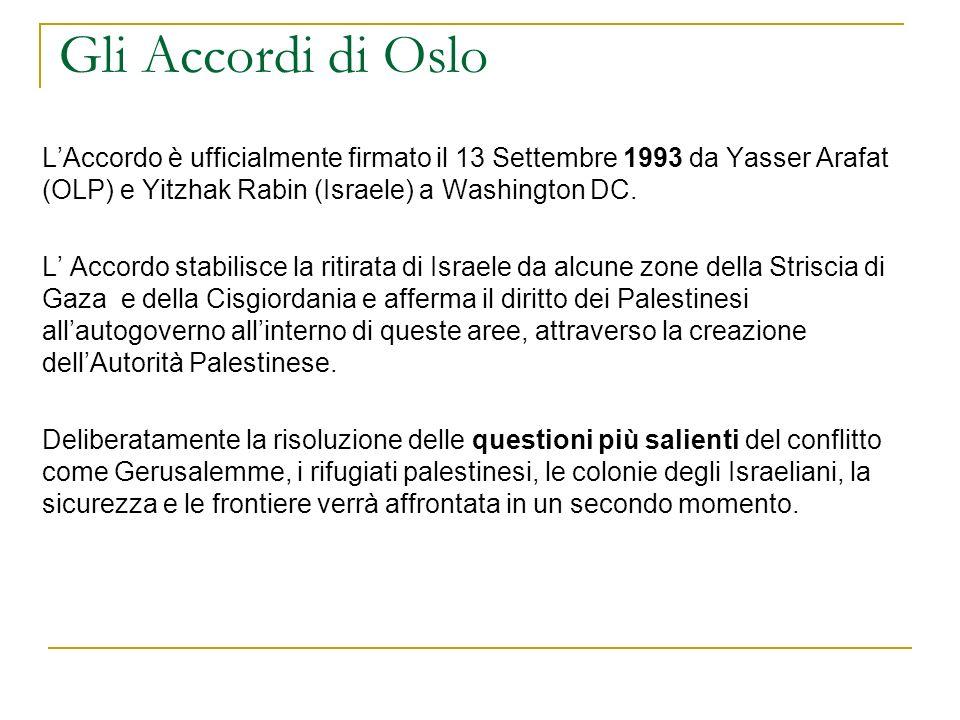 Gli Accordi di Oslo L'Accordo è ufficialmente firmato il 13 Settembre 1993 da Yasser Arafat (OLP) e Yitzhak Rabin (Israele) a Washington DC.