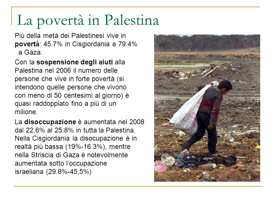 La povertà in Palestina