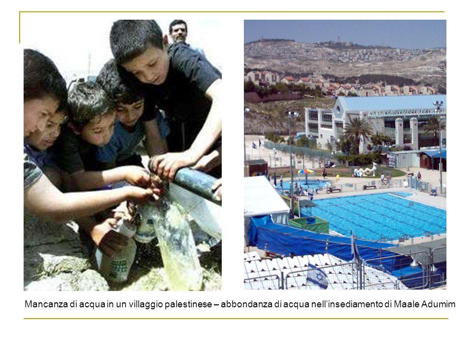 Mancanza di acqua in un villaggio palestinese – abbondanza di acqua nell'insediamento di Maale Adumim