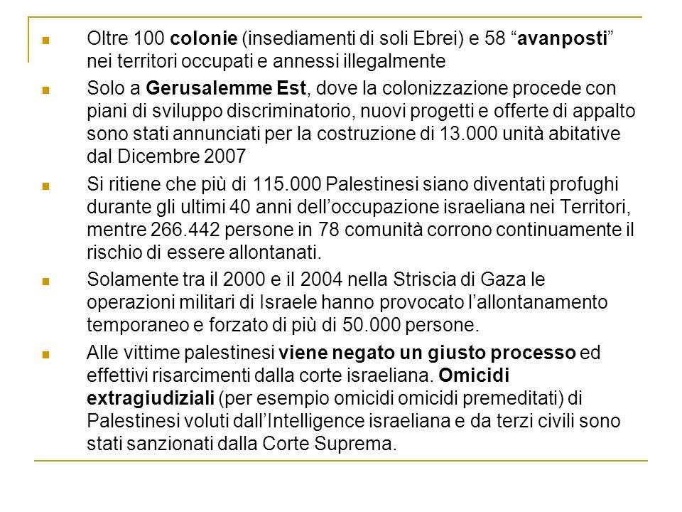 Oltre 100 colonie (insediamenti di soli Ebrei) e 58 avanposti nei territori occupati e annessi illegalmente