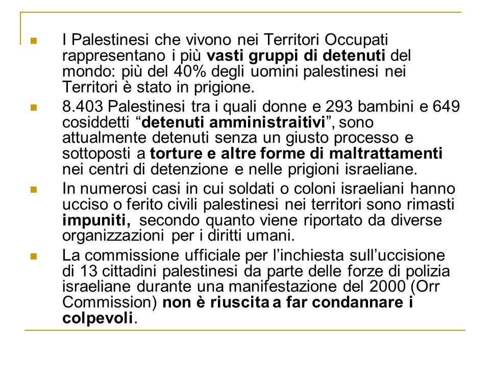 I Palestinesi che vivono nei Territori Occupati rappresentano i più vasti gruppi di detenuti del mondo: più del 40% degli uomini palestinesi nei Territori è stato in prigione.