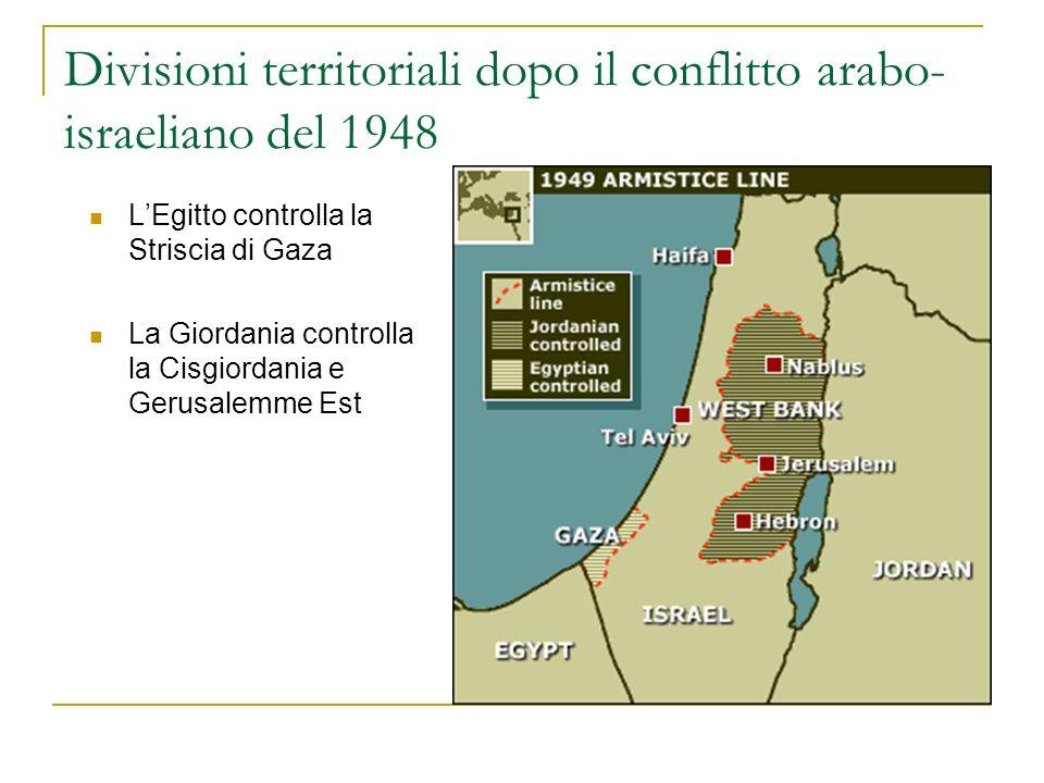 Divisioni territoriali dopo il conflitto arabo-israeliano del 1948