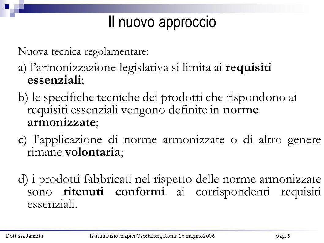 Il nuovo approccio Nuova tecnica regolamentare: a) l'armonizzazione legislativa si limita ai requisiti essenziali;