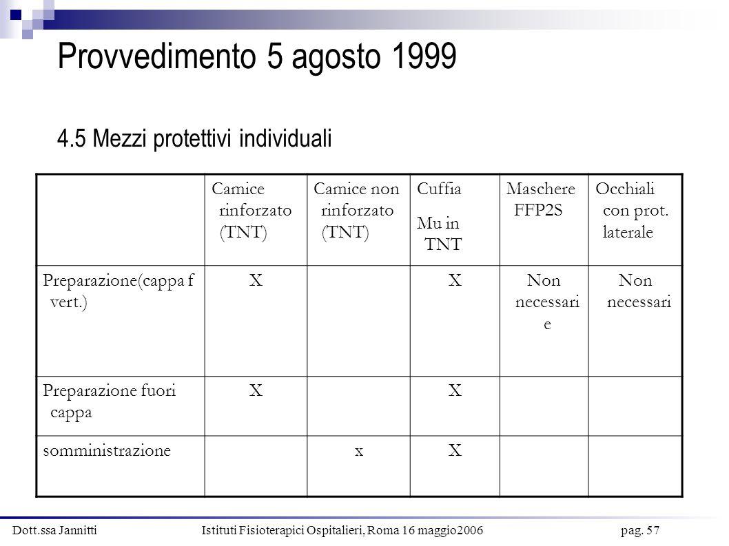 Provvedimento 5 agosto 1999 4.5 Mezzi protettivi individuali
