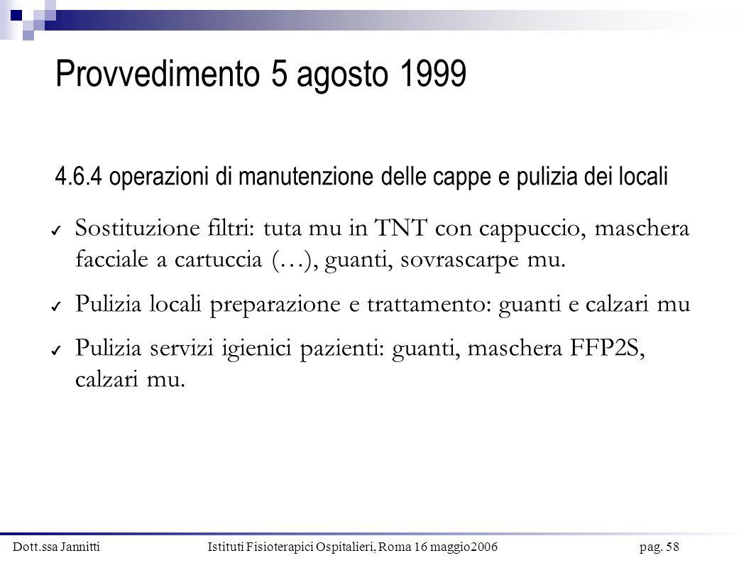 Provvedimento 5 agosto 1999 4.6.4 operazioni di manutenzione delle cappe e pulizia dei locali