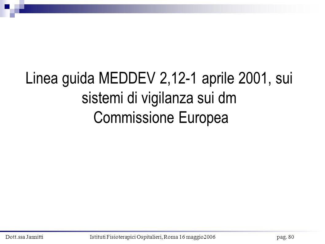 Linea guida MEDDEV 2,12-1 aprile 2001, sui sistemi di vigilanza sui dm Commissione Europea