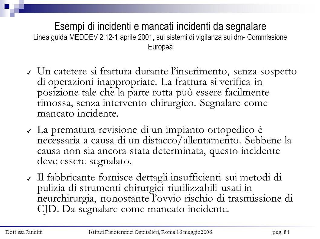 Esempi di incidenti e mancati incidenti da segnalare Linea guida MEDDEV 2,12-1 aprile 2001, sui sistemi di vigilanza sui dm- Commissione Europea