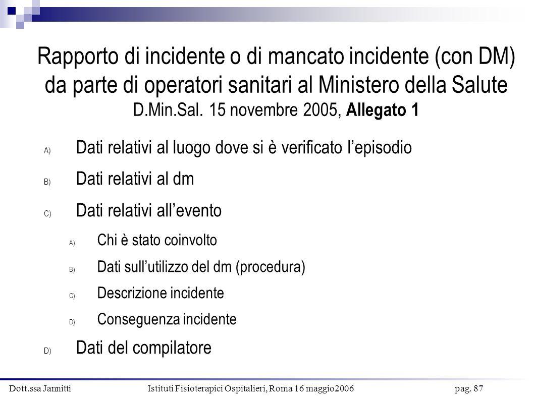 Rapporto di incidente o di mancato incidente (con DM) da parte di operatori sanitari al Ministero della Salute D.Min.Sal. 15 novembre 2005, Allegato 1
