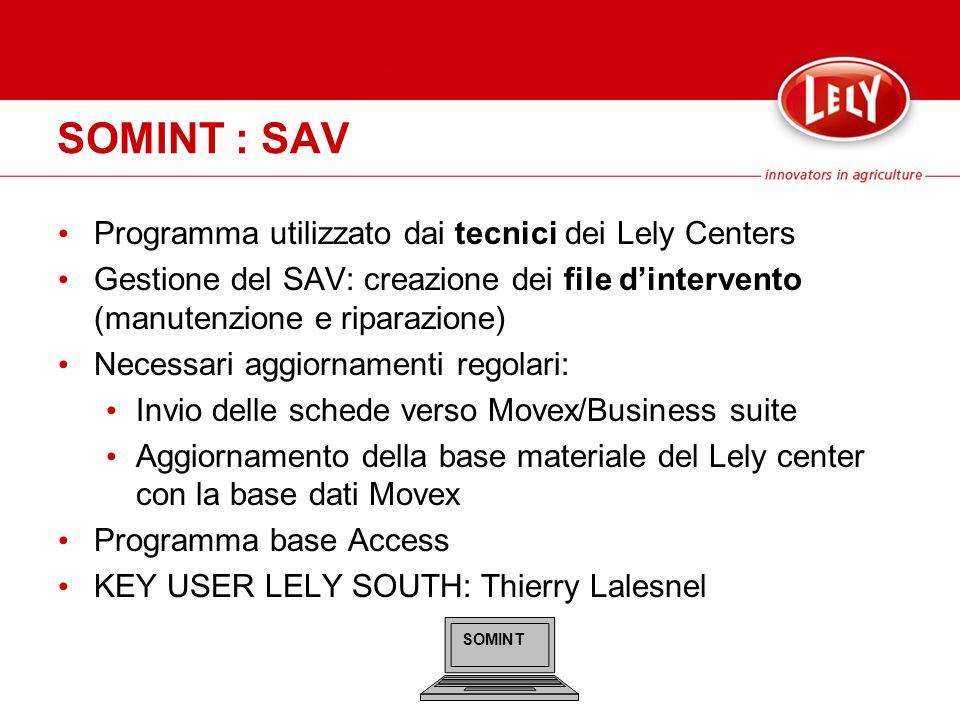 SOMINT : SAV Programma utilizzato dai tecnici dei Lely Centers