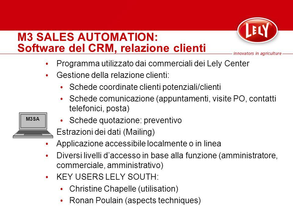 M3 SALES AUTOMATION: Software del CRM, relazione clienti