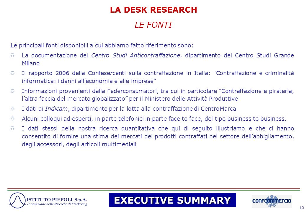 EXECUTIVE SUMMARY LA DESK RESEARCH LE FONTI